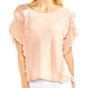 Vince Camuto French peach ruffle large NWT top